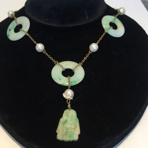 """Antique Chinese carved jade & pearl 23"""" necklace."""